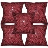 "Rajasthali Home Decorative Handmade Embroidery Work Cotton Cushion Cover 16"" X 16"""
