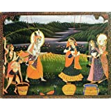 "Dolls Of India ""Radha Krishna Playing The Festival Of Color Holi With Gopi And Gopinis"" Reprint On Card Paper..."