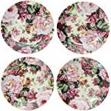 English Rose Pattern Childs Tea Party Fine China Cup Cake Plates - Set Of Four