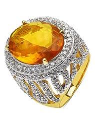 13.30 Grams Orange Glass & White Cubic Zirconia Gold Plated Brass Ring - B00XC2KI00