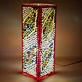 EarthenMetal Handcrafted Hyper Rectangular Shaped Mosaic Design Multicoloured Glass Table Lamp - B01D7JTV96