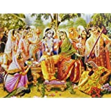"""Dolls Of India """"Radha Krishna With Gopinis"""" Reprint On Paper - Unframed (40.01 X 29.21 Centimeters)"""