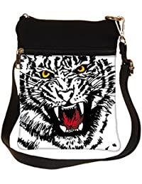 Snoogg Sketch Of White Tiger Vector Illustration Cross Body Tote Bag / Shoulder Sling Carry Bag