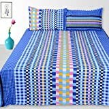 Story@Home 152 TC 100% Cotton Blue 1 Double Bedsheet With 2 Pillow Cover