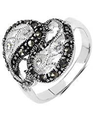 4.40 Grams Marcasite & White Cubic Zircon .925 Sterling Silver Ring