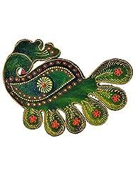 Just Crafts Wood Peacock Chopra (JC015, 17.5 Cm X 12.5 Cm X 2.8 Cm)