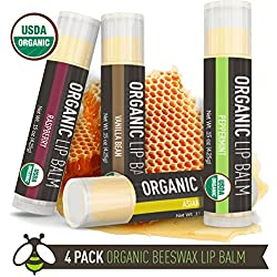 Lip Balm - 4 Pack - La Lune Naturals USDA Certified Organic Lip Balm, Natural Beeswax Lip Balm - Vanilla Bean, Raspberry, Asian Pear, Peppermint - MADE IN THE USA - Best Lip Balm for Kids & Babies
