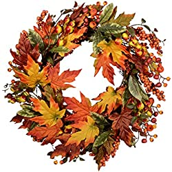 "Festive Fall 24"" Wreath with Mixed Maple Leaves, Twigs and Berries"