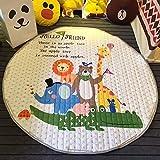 TheTickleToe Multifunction Cartoon Lovely Animal Cute Zoo Pattern Play Mats Rug Toy Storage Bag Crawling Rug Carpet...