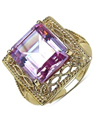 Suraabi 10.70CTW Purple Cubic Zirconia 14K Yellow Gold Plated Brass Ring For Women
