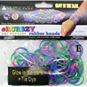 Rubbzy Green Pink And Purple Glow In The Dark Tie Dye Loose Rubber Bands