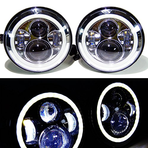 GENSSI 7 Inch Round LED Headlights Halo Angle Eyes +Signal For Jeep 97-16 Wrangler JK LJ TJ Chrome