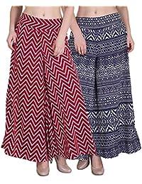 Myshka Regular Fit Women's White And Red Plazzo(pack Of 2)