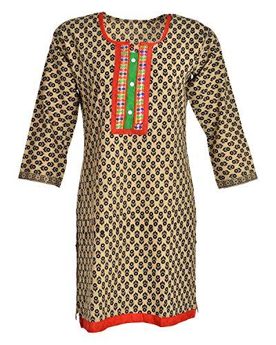 Global Women's Cotton Straight Kurta (GW35Beige40015, Beige, 40)