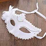 Alcoa Prime 1 Pcs Women Venetian Style Cosplay Halloween Half Face White Mask Dancing Party Eye Mask Halloween Fancy Costume Free Shipping