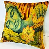 "Premium Hand Embroidered Royal Cushion Cover (PEACEFUL BUDDHA) (16""x 16"") - Premium Quality"