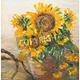 Artzloom Oil Painting Illustrating Still Life With Sunflowers In Ceramic Vase Canvas Art Print Without Frame -...