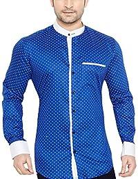 GlobalRang Men's Cotton Casual Polka Printed Stand Collar Shirt