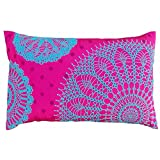 Crochet Pattern Embroidered Pillow Pink And Turquoise Polytafetta Pillow Cover Size 12X20 Inch Pink And Blue Pillow...