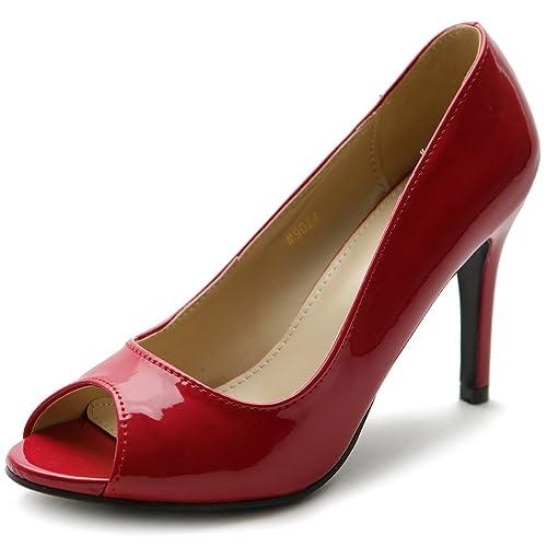 Ollio Women's Shoe Open Toe High Heel Enamel Basic Pump (6.5 B(M) US, Red)