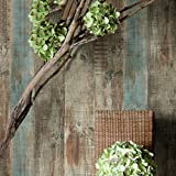 HaokHome 8032 Vintage Woods Panel Wallpaper Rolls Blue/Brown Trees Vinyl Kitchen Wall Paper Murals Realistic Home...