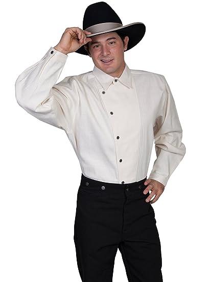 Victorian Men's Shirts- Wingtip, Gambler, Bib, Collarless Osnaburg Button Front Shirt  AT vintagedancer.com