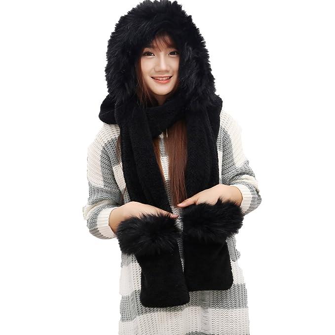 Fashion Land Couples Velveteen Fox Fur Collar Hat Scarf Gloves Set 3 in 1 Black