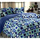Snuggles 100% Cotton 144 TC Blue Geometric Double Bedsheet With 2 Pillow Covers (2001)