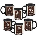 HomeSoGood Keep Calm And Enjoy The Coffee Quote Black Ceramic Coffee Mug - 325 Ml (Set Of 6)