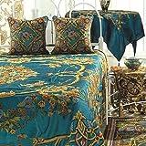 Crewel Pillow Euro Sham Art Nouveau Turquoise Cotton Duck (26X26)