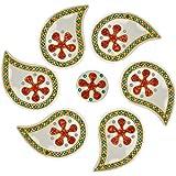 Nandini Acrylic Selfie Decorative Rangolis (13 Cm X 10 Cm X 1 Cm, Green & Yellow)