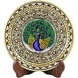 Style Souk Decorative White Marble Plates Meenakari Designe Plate With Stand Set Of 1 Pcs