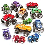 12 Pull Back Stocking Stuffers Deluxe Combo , (Includes 4 Monster Pullback Trucks 4 Pull Back Racing Cars and 4 Pull Back Monster Pick up Trucks)