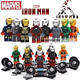 Minifigures Figures Model Building Blocks Bricks Learning Educational Toys Gift for Children Kids8pcs Iron Man Gemini Mark2/33/40/42/Patriot War Machine Ultron Super Heroes Tony Stark