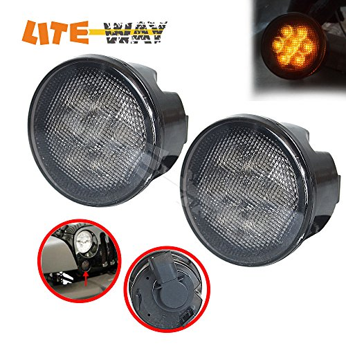LITE-WAY (Pack of Two) Jeep Wrangler 07-15 Front Turn Signal Lights Amber Led Smoke Lens Turn Parking Function (JP-FTS-B)