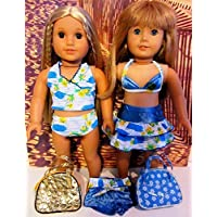 18 Inch Doll Swimsuit, Bikini, Bathing Suit Fits American Girl Doll 7 Piece Set Blue White Shorts, Top, Skirt,...