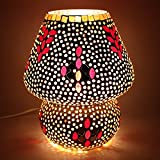 EarthenMetal Handcrafted Polka Design Decorated Dome Shaped Glass Table Lamp