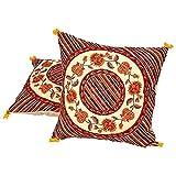 Ufc Mart Floral Print Artwork Cotton Cushion Cover Pair, Color: Multi-Color, #Ufc00511
