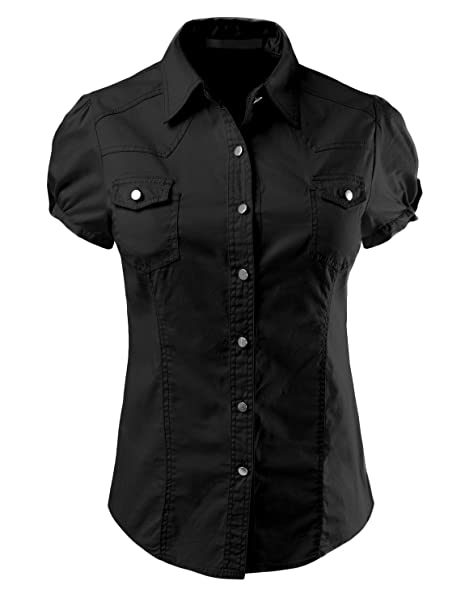 LE3NO Womens Lightweight Short Sleeve Button Down Shirt