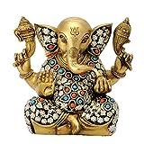 Redbag Lord Ganesha Loves Laddoo Brass Statue ( 16.51 Cm, 17.15 Cm, 9.53 Cm )