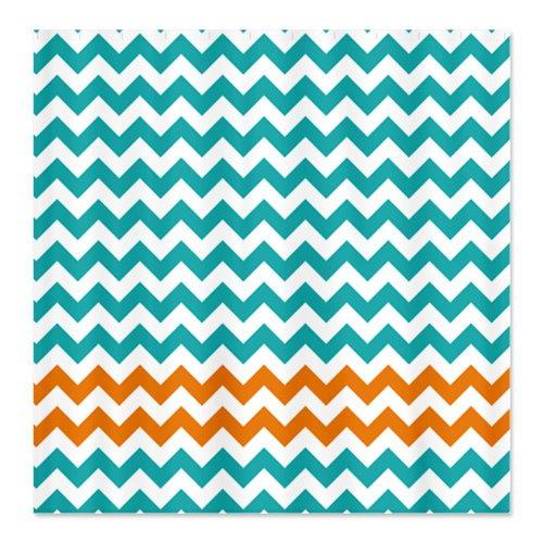 Turquoise and Orange Chevron Stripes