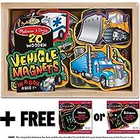 Vehicle Wooden 20 Magnets-in-a-Box Gift Set + FREE Melissa & Doug Scratch Art Mini-Pad Bundle [85885