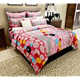 Home Candy 144 TC Vivid Circles Cotton Double Bed Sheet With 2 Pillow Covers