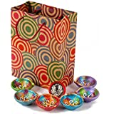 Giftacrossindia Set Of 6 Earthen Diyas With Silver Plated Lakshmi Ganesha Coin In A Gift Bag For Diwali Home Decor...