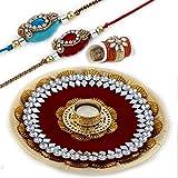 Aapno Rajasthan Beautiful Embellished With Mirror Work Plastic Rakhi Thali Set (30 Cm X 30 Cm X 4 Cm, Maroon And...
