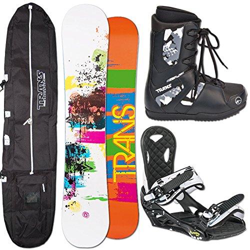 TRANS Herren Snowboard SET PREMIUM 159cm white 2014 + Eco Bindung Gr. L + Boots + Bag