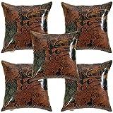 Idrape Rexin 5 Piece Cushion Cover Set- Brown, 40 Cm X 40 Cm