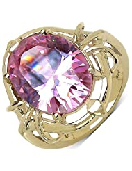 Suraabi 14.40CTW Pink Cubic Zirconia 14K Yellow Gold Plated Brass Ring For Women Size 8 - B00F2BAYBC