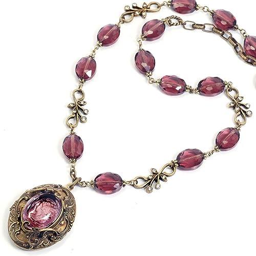 Victorian Costume Jewelry Victorian Necklace                                                                       Sweet Romance Victorian Intaglio Locket Necklace                               $105.00 AT vintagedancer.com