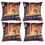MeSleep Digital Print Wonderful Chicago City 4 Piece Cushion Cover Set - Multicolor